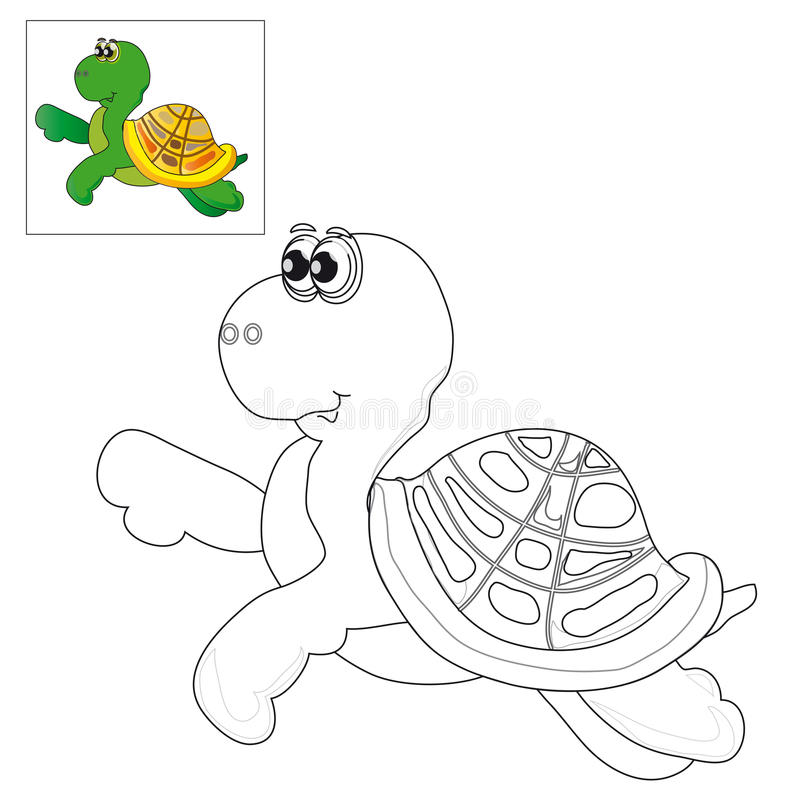 Föreställa för att färga en sköldpadda stock illustrationer