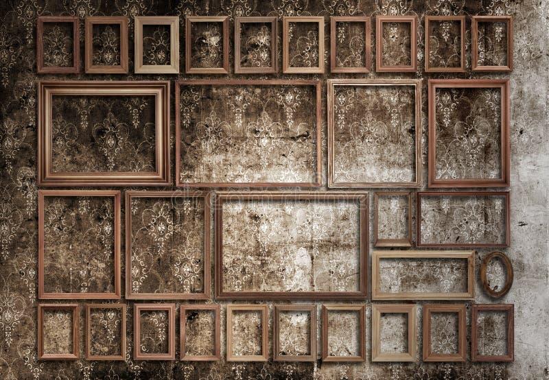 Inramar uppsättningen på väggen royaltyfria foton