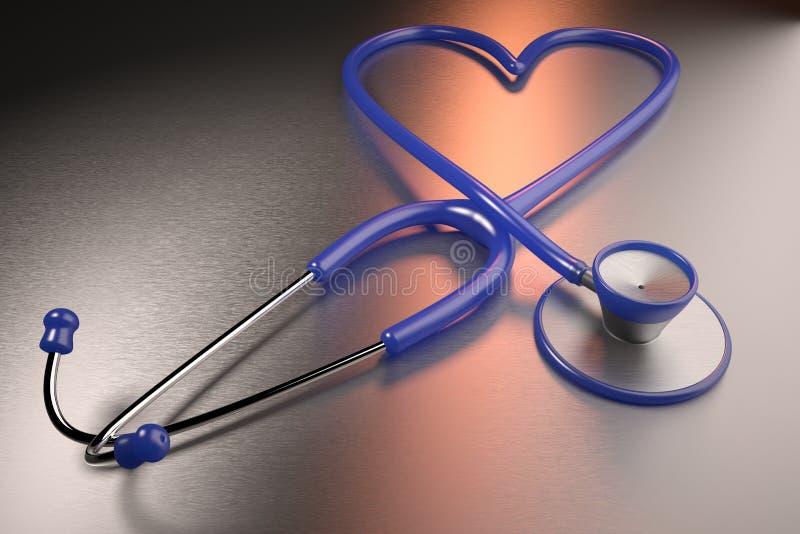 Föreställde det vård- begreppet för hjärta med en hjärta formad stetoskop stock illustrationer
