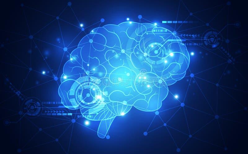 Föreställer den abstrakta mänskliga hjärnan för vektorn på teknologibakgrund begreppet för konstgjord intelligens, illustration stock illustrationer