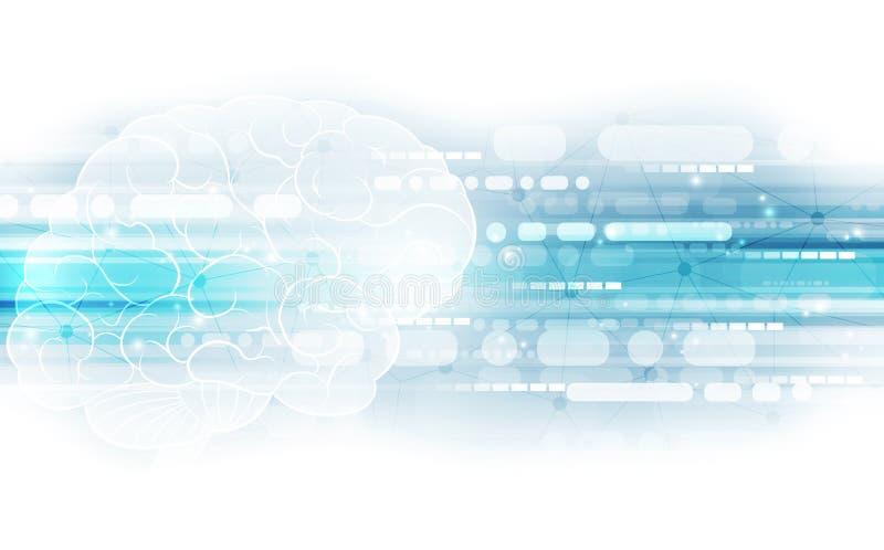 Föreställer den abstrakta mänskliga hjärnan för vektorn på teknologibakgrund begreppet för konstgjord intelligens, illustration royaltyfri illustrationer