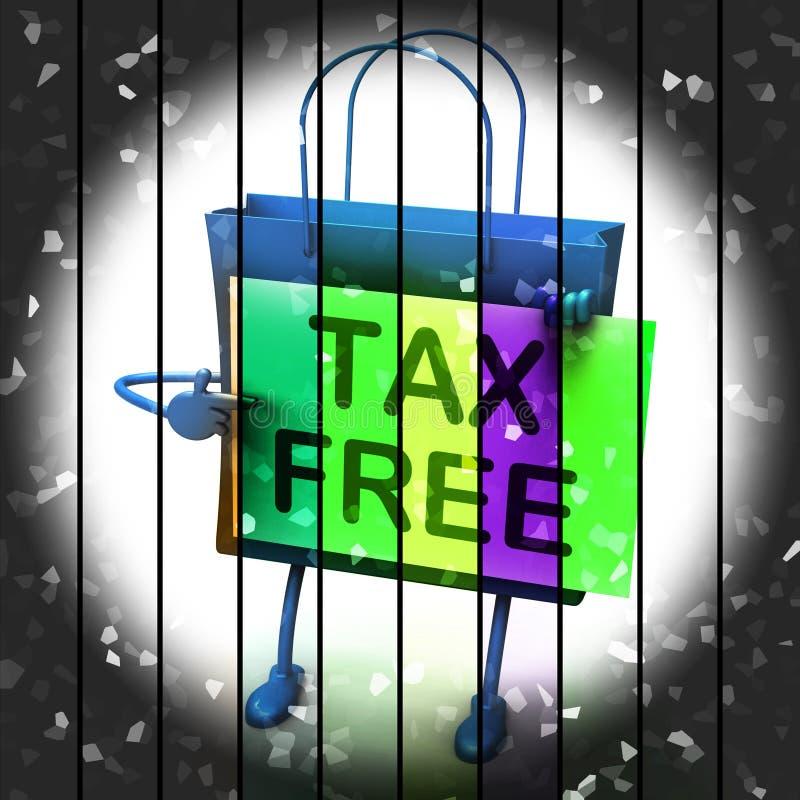 Föreställer den fria shoppingpåsen för skatt undantagna rabatter för arbetsuppgift royaltyfri illustrationer