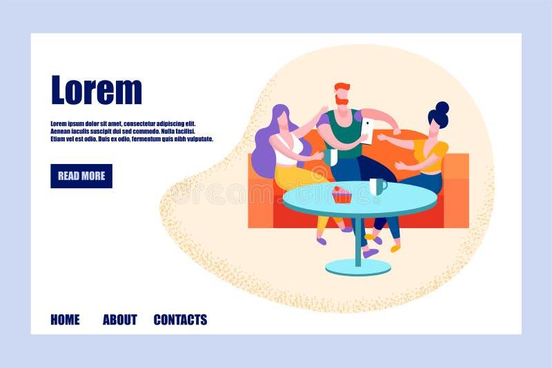 Företag av ungdomarsom dricker te, fritid vektor illustrationer