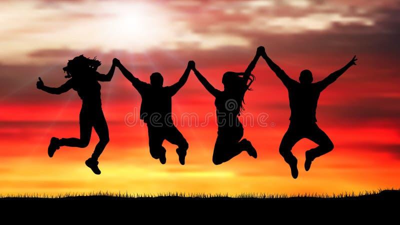 Företag av vänner, lyckligt folk som hoppar på solnedgångkonturn vektor illustrationer