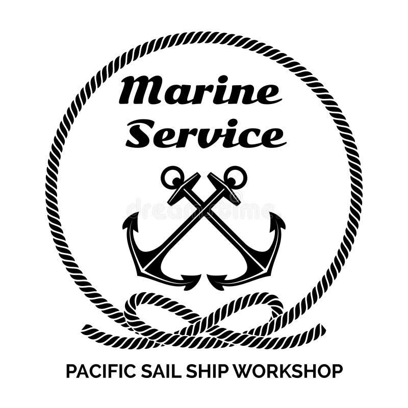 Företag Logo Design för Marine Service royaltyfri illustrationer