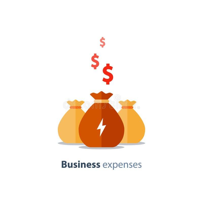 Företaghuvudstad, det fundraising begreppet, affärslånet, företag uppta som omkostnad, aktieandelsfonden, vektorsymbol stock illustrationer