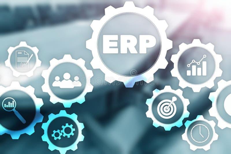 Företagresursplanläggning på kontorsbakgrund Automation- och innovationbegrepp Erp stock illustrationer