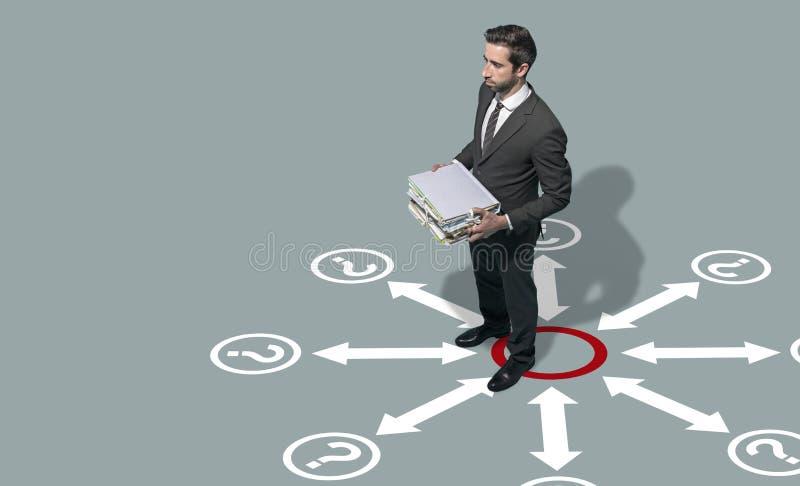 Företags affärsman som grubblar affärsstrategier arkivbild