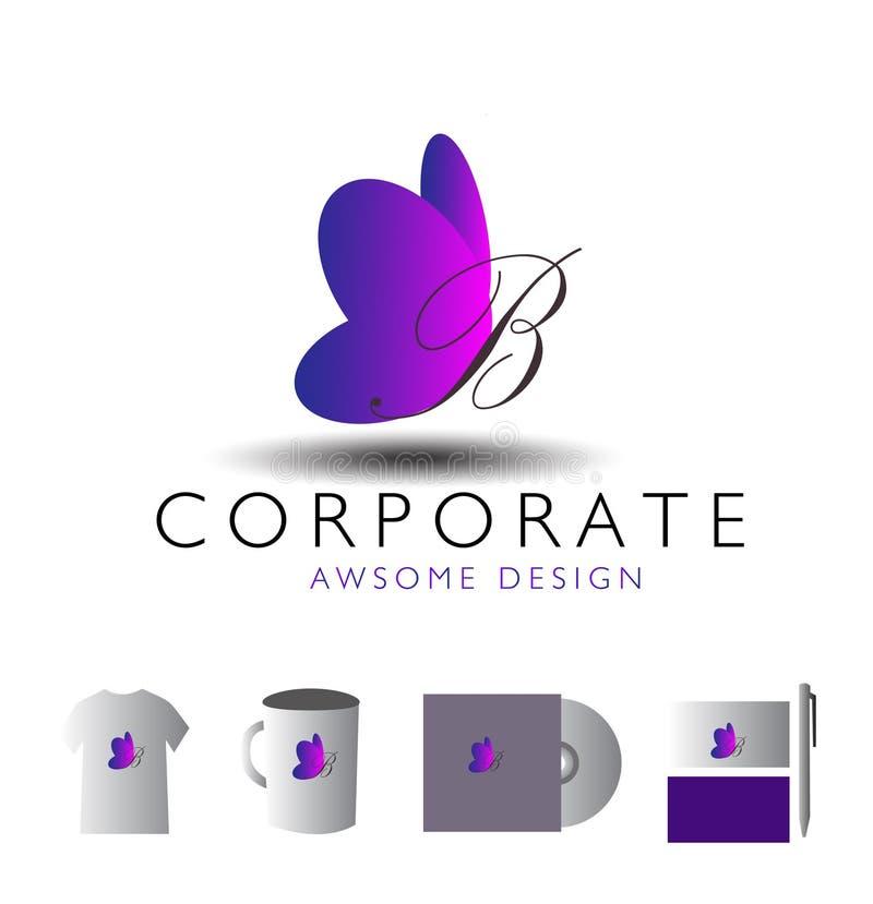 Företags bokstavsfjäril för logo b stock illustrationer