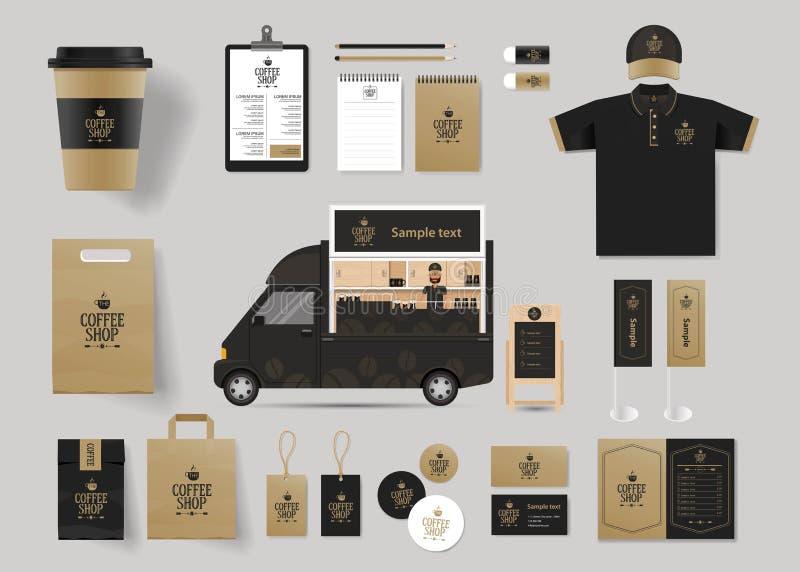 Företags brännmärka identitetsåtlöje upp mallen för coffee shop och restaurang vektor illustrationer