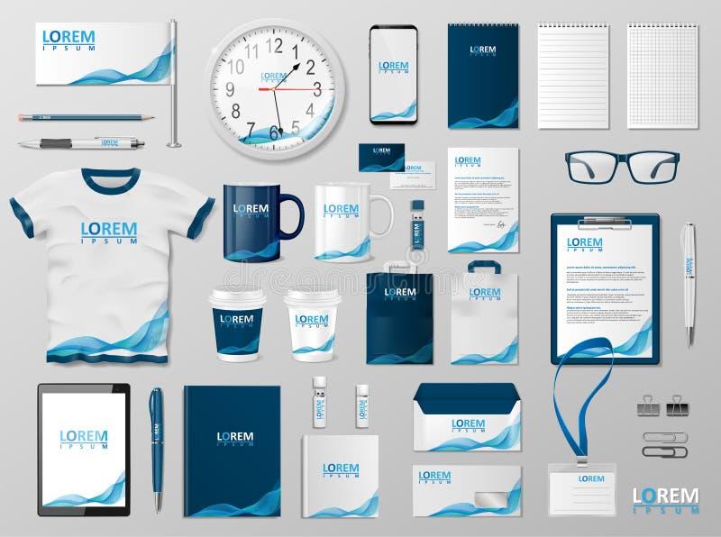 Företags brännmärka identitetsmalldesign Den moderna brevpappermodellen för shoppar med den moderna blåttstrukturen Affär stock illustrationer