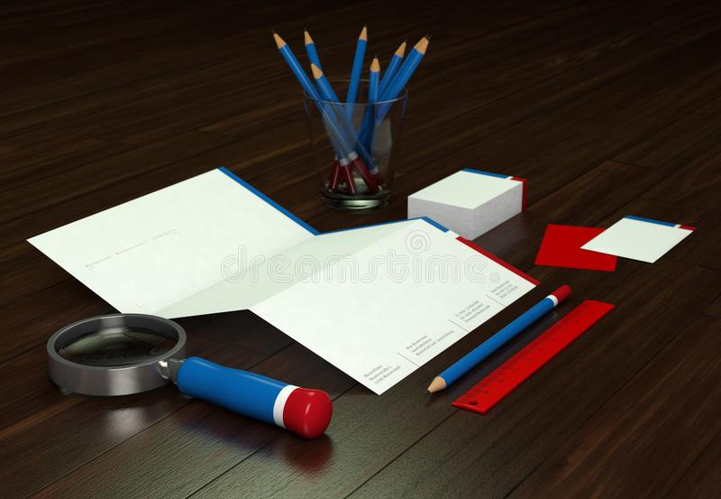 Företags brevpapper som brännmärker modellen på wood bakgrund royaltyfria foton