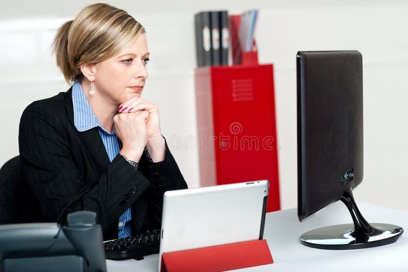 Företags dam som ser in i datorskärmen royaltyfri bild