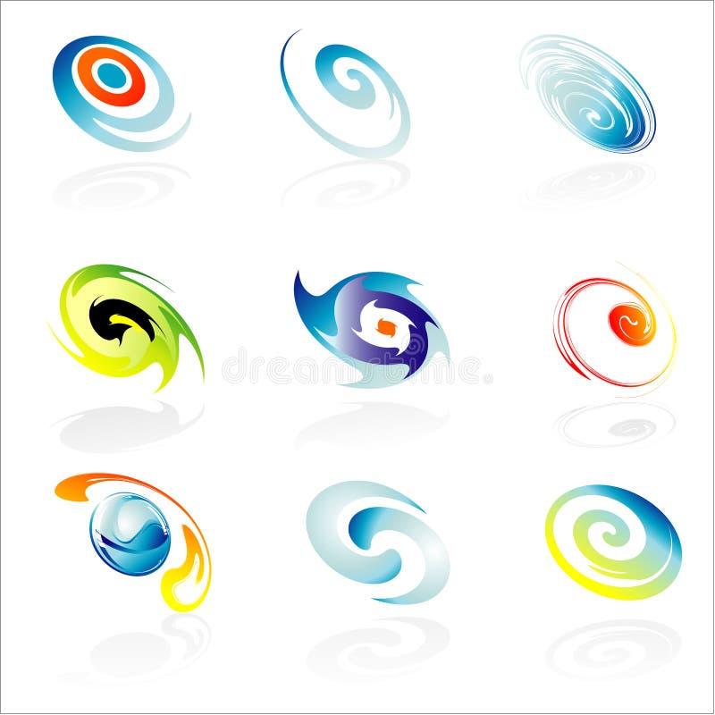 företags designelementlogo nio royaltyfri illustrationer