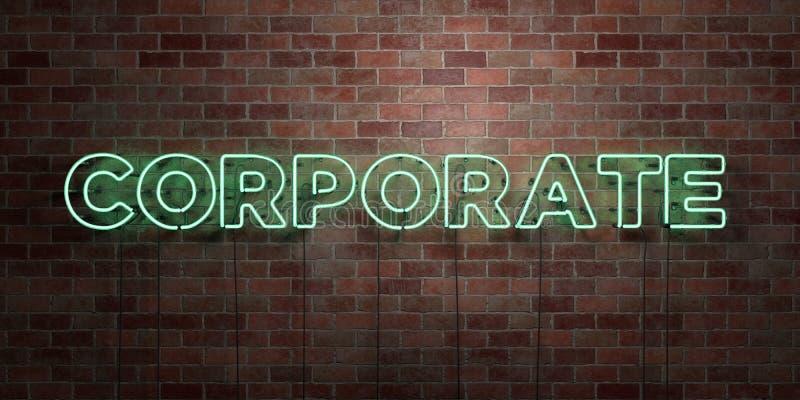 FÖRETAGS - fluorescerande tecken för neonrör på murverk - främre sikt - 3D framförde den fria materielbilden för royalty royaltyfri illustrationer