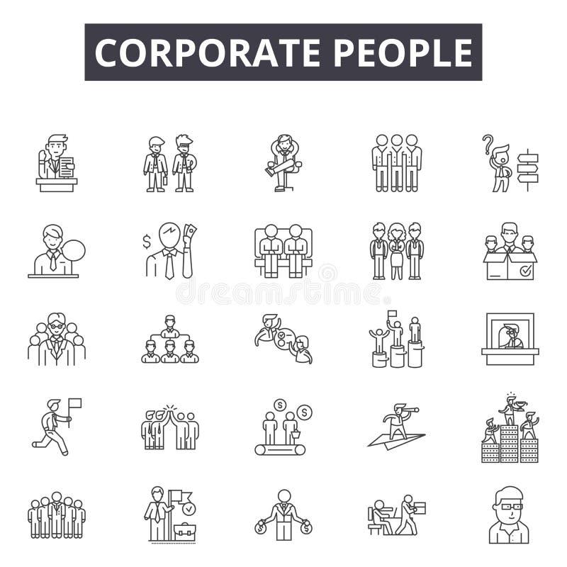 Företags folklinje symboler, tecken, vektoruppsättning, översiktsillustrationbegrepp royaltyfri illustrationer