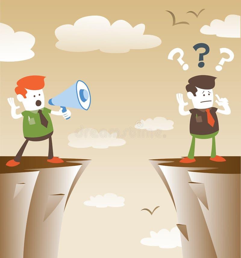 Företags grabbar som meddelar från avstånd stock illustrationer