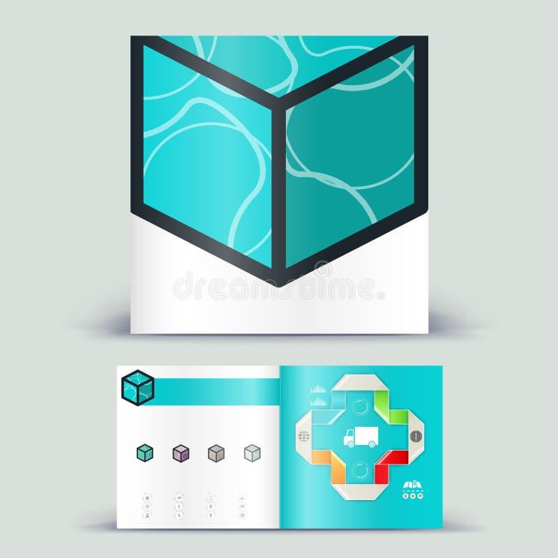 Företags häftebefordranmall med färgbeståndsdelar Stil för affär för vektorföretagsbrichure för annonsering, rapport eller guidel royaltyfri illustrationer