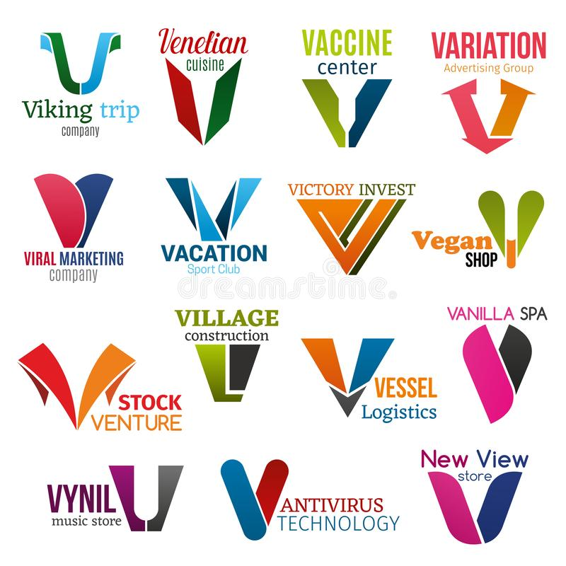 Företags identitet för bokstav V, affärssymboler vektor illustrationer