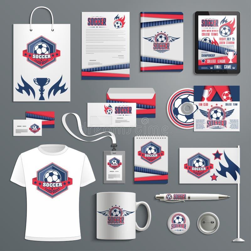 Företags identitet för fotboll, fotbollsportklubba royaltyfri illustrationer