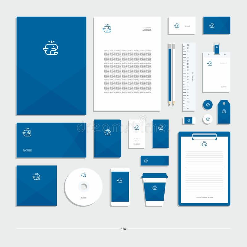 Företags identitet med ett tecken för vitt val på en blå bakgrund royaltyfri illustrationer