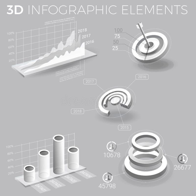 Företags Infographic beståndsdelar i Gray And White vektor illustrationer