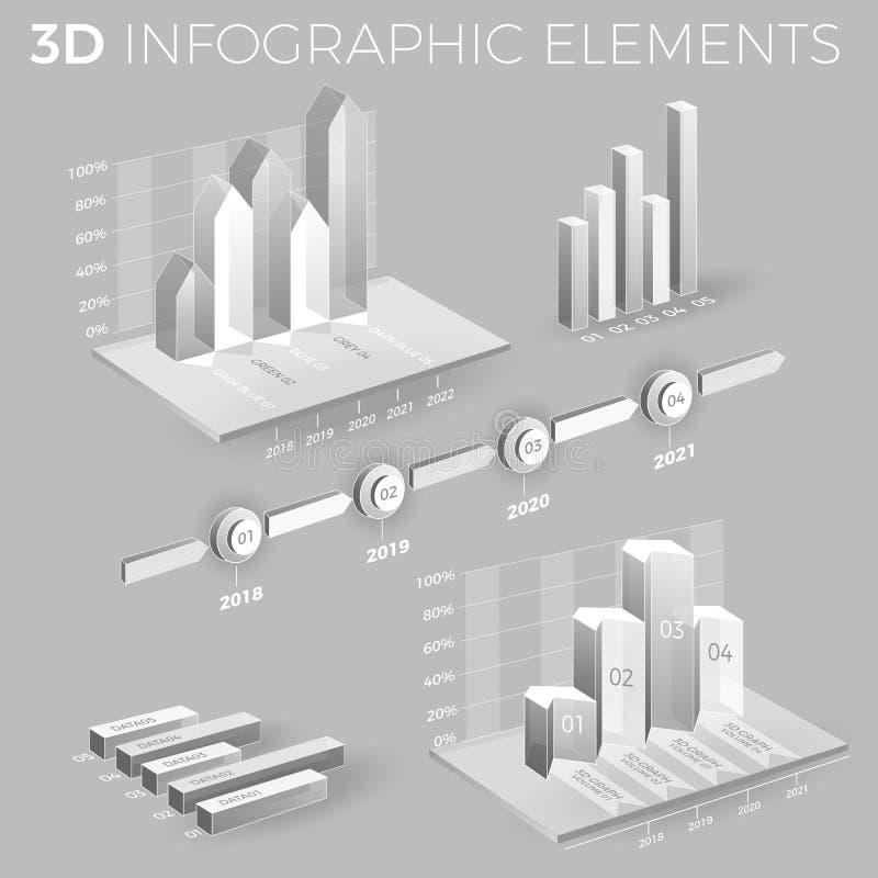 Företags Infographic beståndsdelar i Gray And White royaltyfri illustrationer