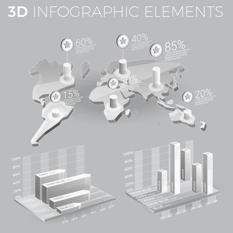 Företags Infographic beståndsdelar i Gray And White stock illustrationer