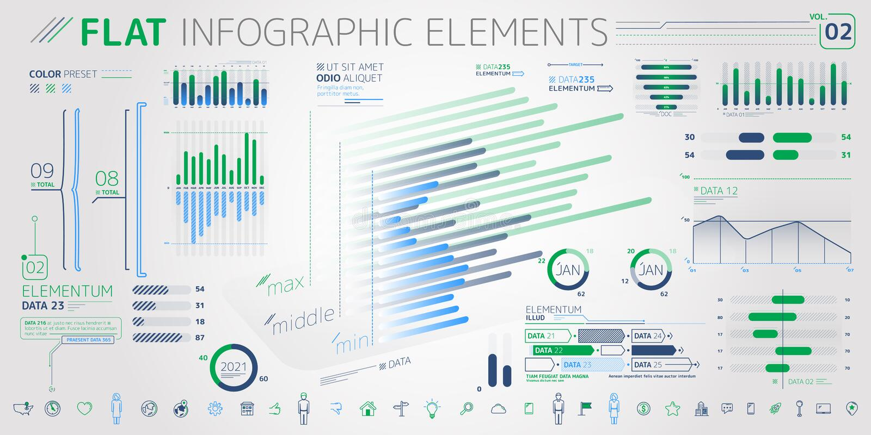 Företags Infographic beståndsdelsamling stock illustrationer