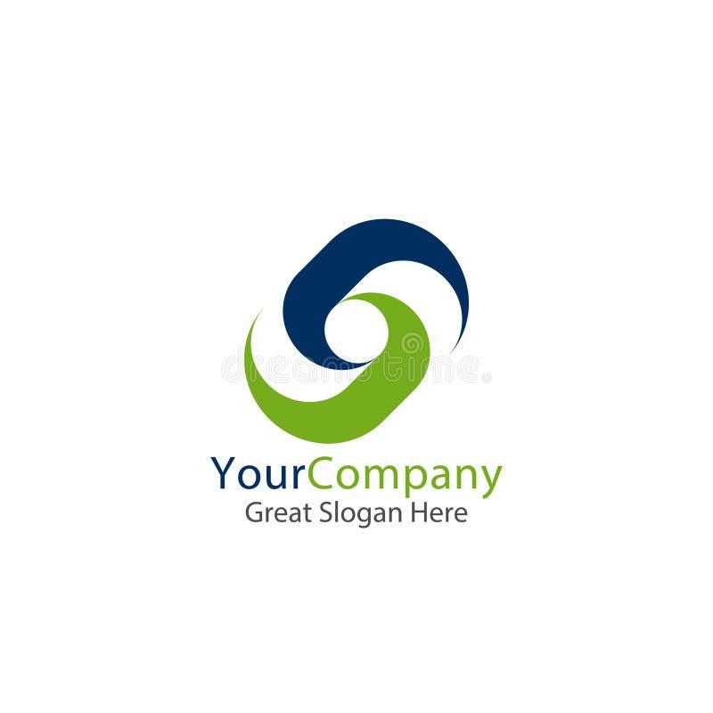 Företags logo för affär symbol för cirkel för fyrkant för lettertypebokstav S abstrakt alfabetteckendesign också vektor för corel royaltyfri illustrationer