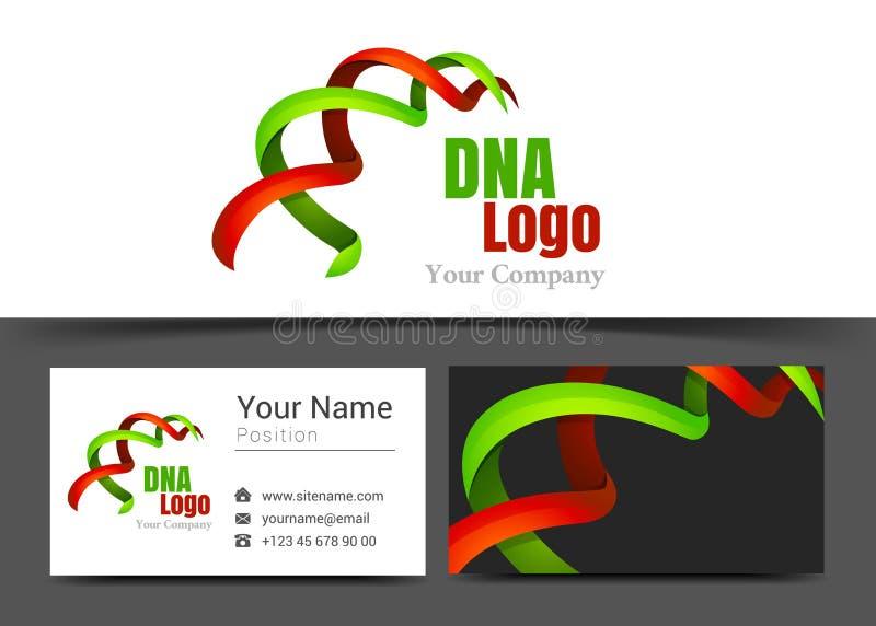 Företags logo för Dna-band och mall för tecken för affärskort royaltyfri illustrationer
