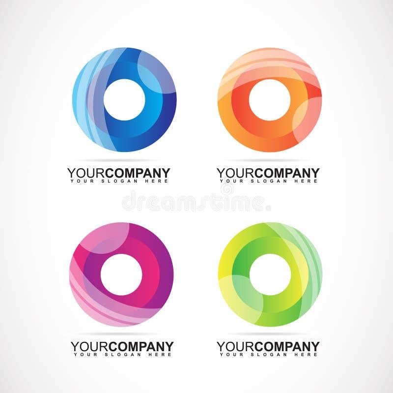 Företags logo med cirkelfärger för affär stock illustrationer
