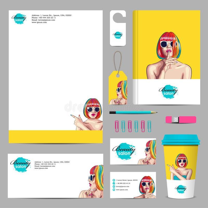 företags modell för affär med kvinnan som bär färgrika wi stock illustrationer