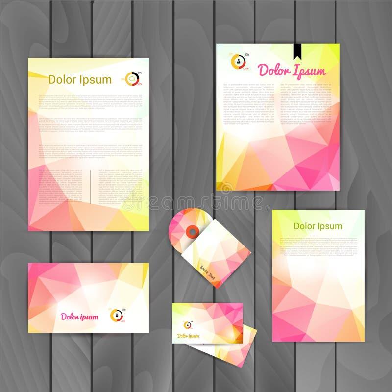 Företags orientering för mall för design för märkesaffärsidentitet Bokstav brevhuvud, mapp, kort Vektorföretagstriangel royaltyfri illustrationer