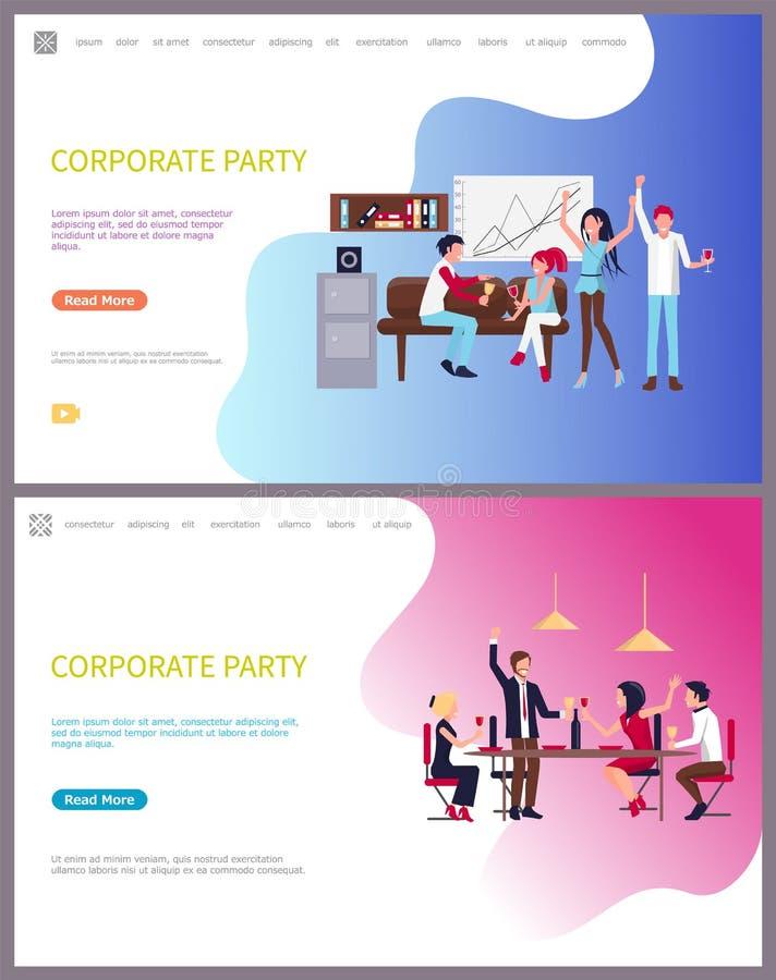 Företags parti av arbetare, roliga fridagar på stången vektor illustrationer