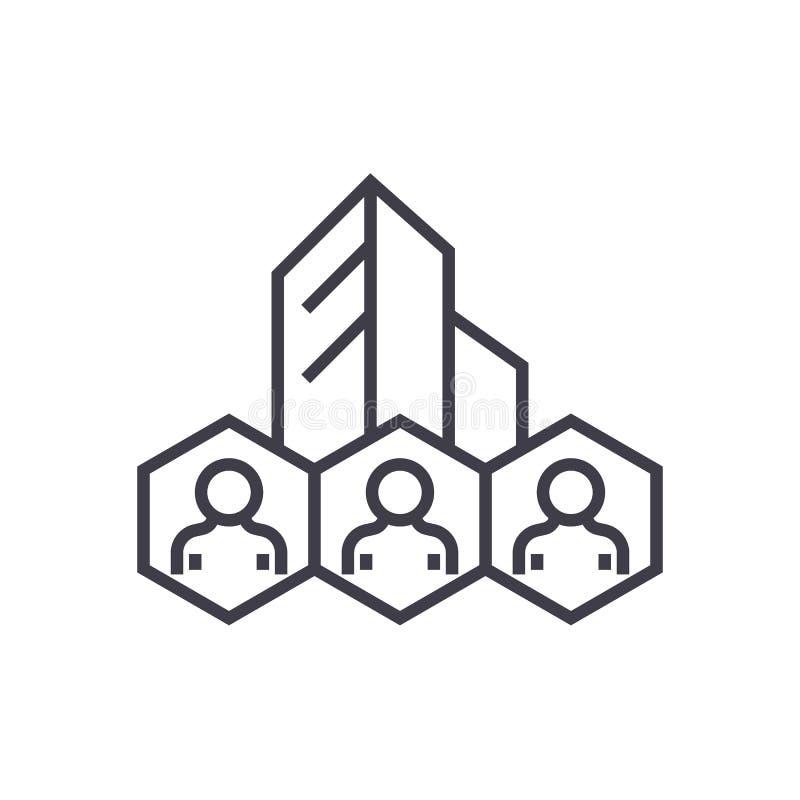 Företags politik, verksamhetssystemvektorlinje symbol, tecken, illustration på bakgrund, redigerbara slaglängder stock illustrationer