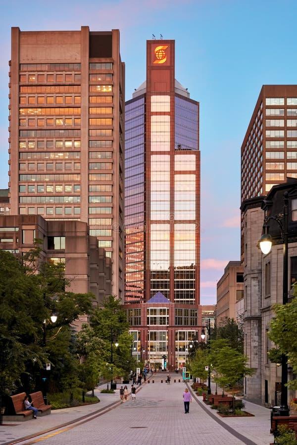 Företags skyskrapabyggnader och folk som går på den McTavish gatan på solnedgången i Montreal, Kanada royaltyfri foto