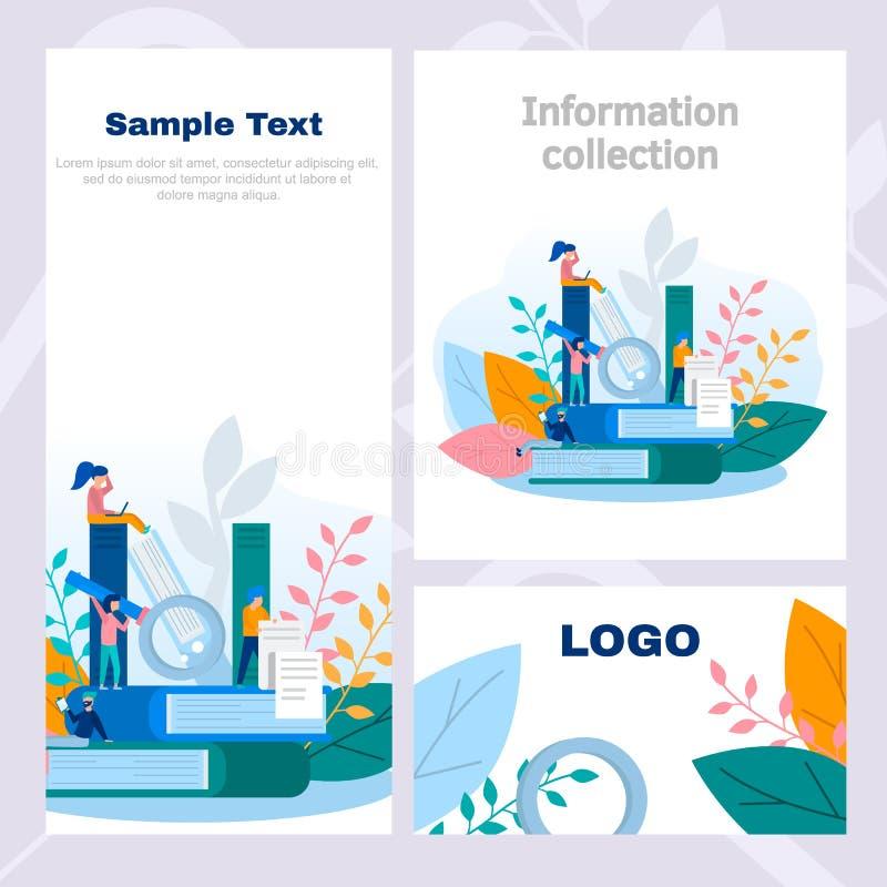 Företags stilreklamblad för begrepp i kunskaps- och informationssamlingen, online-utbildning, internet som studerar, online-bok,  vektor illustrationer