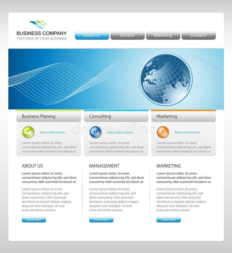 Företags webbplatsmall för affär royaltyfri illustrationer