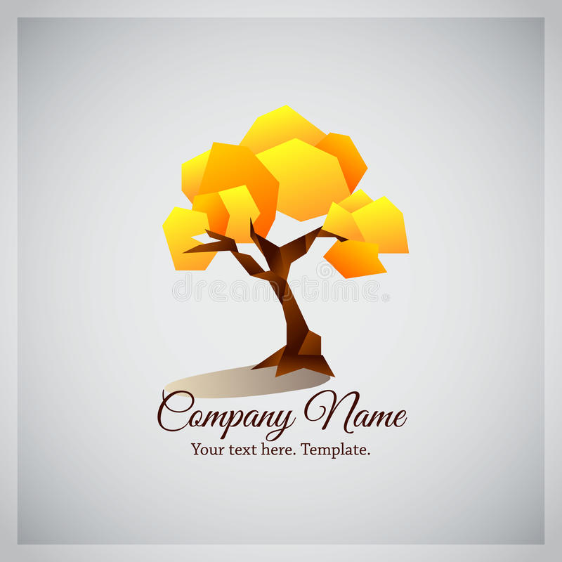 Företagsaffärslogo med det geometriska gula trädet vektor illustrationer