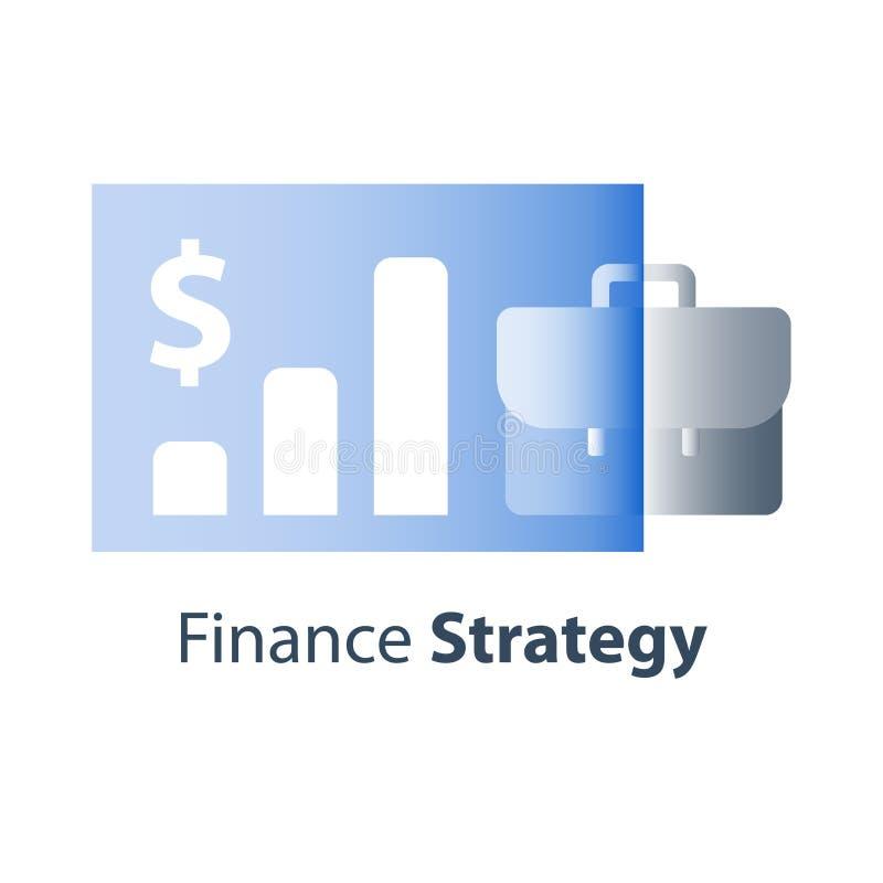 Företagsfinanskapacitet, finansiell strategi, långsiktig investering, affärsintäktökning, aktiemarknadtillväxt, aktieandelsfond vektor illustrationer