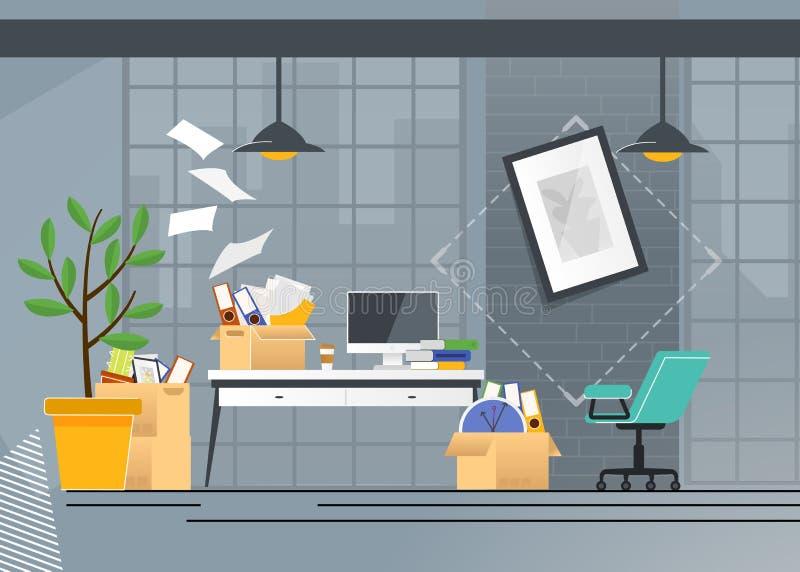 Företagskontorsflyttning och trans.tecknad film royaltyfri illustrationer