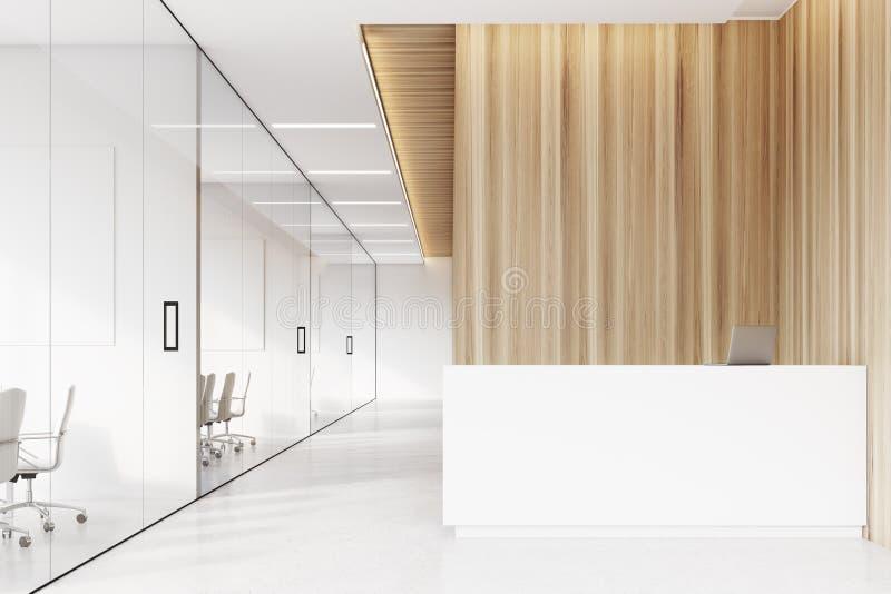 Företagskorridor med mottagandet, främre sikt vektor illustrationer