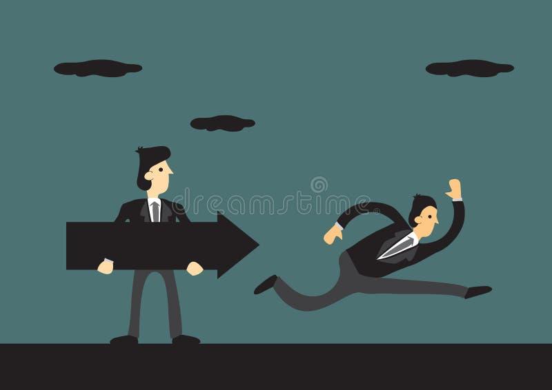 F?retagsledaren rymmer en svart pil som leder hans folk till r?ckvidden deras f?retags m?l p? en gr?n bakgrund Begrepp av vektor illustrationer