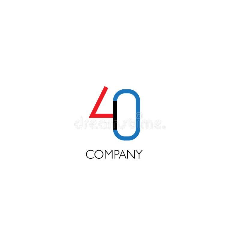 Företagslogo för fyrtio nummer stock illustrationer