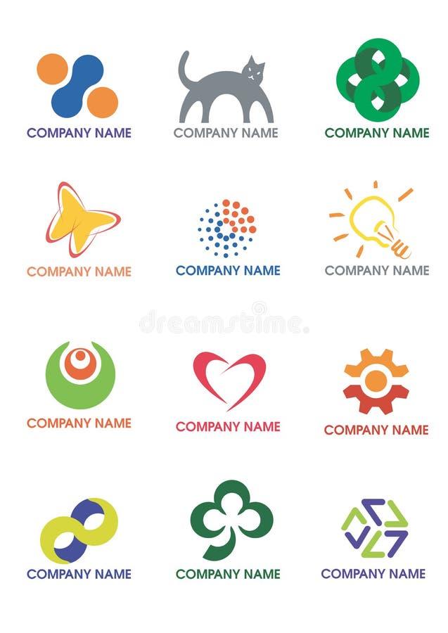 företagslogoer royaltyfri illustrationer