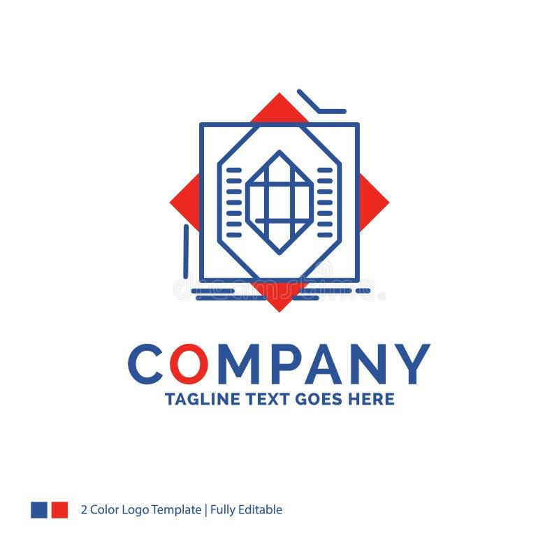 Företagsnamn Logo Design For Abstract, kärna, fabricering, format stock illustrationer