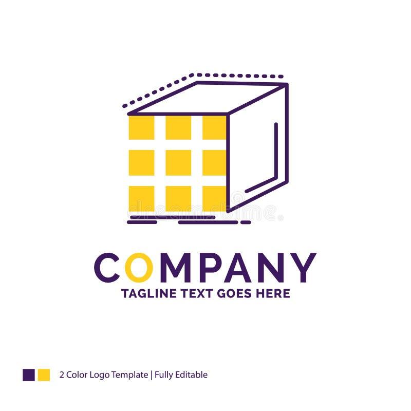 Företagsnamn Logo Design For Abstract, sammanhopning, kub, dimens stock illustrationer
