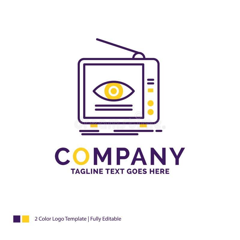 Företagsnamn Logo Design For Ad, TV-sändning, marknadsföring, televisio vektor illustrationer