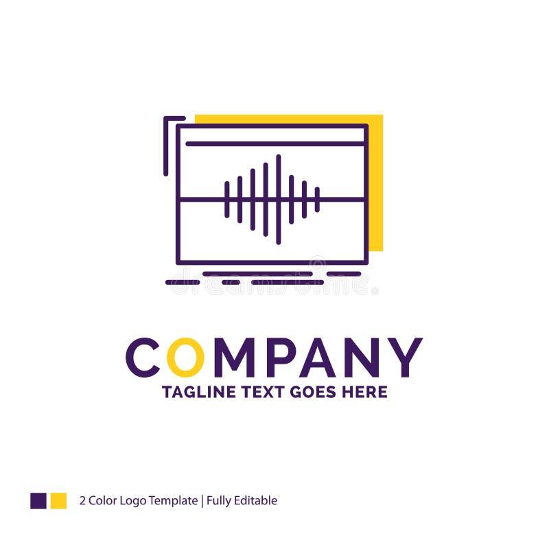 Företagsnamn Logo Design For Audio, frekvens, hertz, följd vektor illustrationer